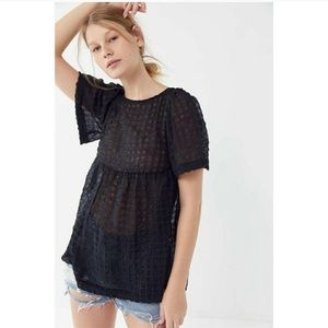 NWT Urban Outfitters Helena Crinkle Babydoll Top
